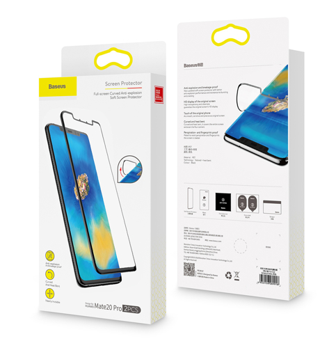 Baseus Full-screen 2x Full Coverage 3D Anti-Blue Light PET Screen Protector 0,15 mm Film for Mate 20 Pro black (SGHWMATE20P-KS01)
