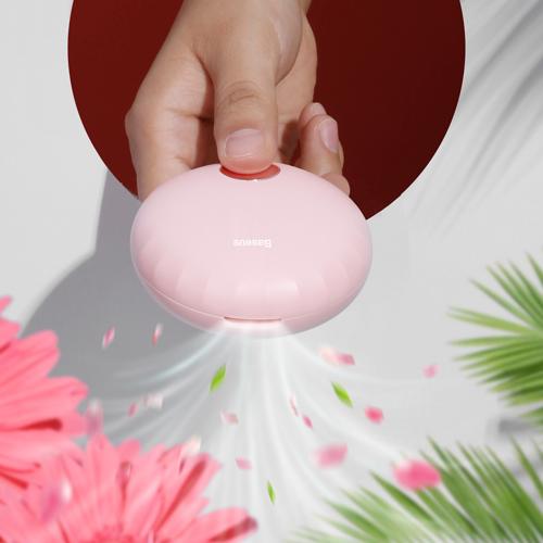 Baseus Tragbarer Lufterfrischer mit eingebautem Mini Ventilator pink (SUXUN-HB04)