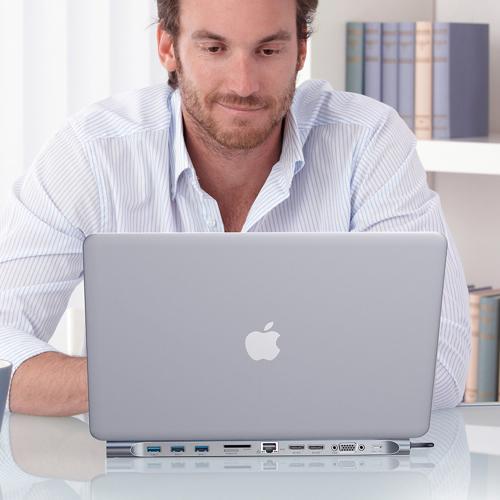 Baseus Enjoyment podstawka pod laptopa adapter HUB USB Typ C PD / VGA / HDMI / RJ45 / USB 3.0 / czytnik kart SD micro SD do MacBook / PC szary (CATSX-G0G)
