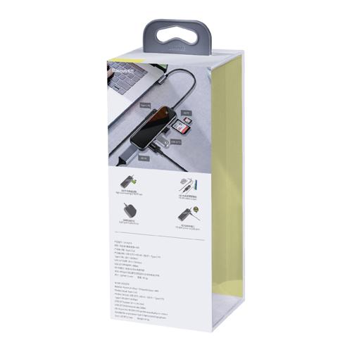 Baseus adapter przejściówka HUB USB Typ C na 3x USB 3.0 / HDMI 4K / czytnik kart SD, TF, micro SD / USB Typ C PD do MacBook / PC szary (CAHUB-CZ0G)